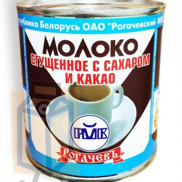 """Молоко сгущенное """"Рогачёвъ"""" с сахаром и какао 7,5% 380г ж/б"""