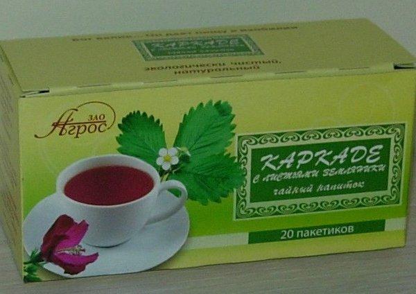 """Чайный напиток травяной """"Каркаде с листьями земляники"""""""