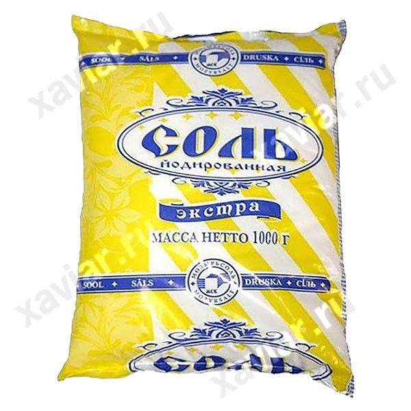 """Соль Экстра пищевая """"Полесье"""" йодированная, пакет 1 кг."""