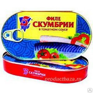 "Филе скумбрии в томатном соусе ""5М"", 190г,"