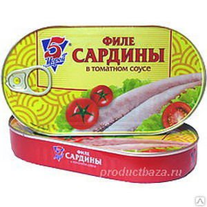 """Филе сардины в томатном соусе """"5М"""",190г"""