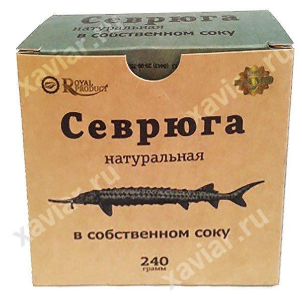 """Севрюга натуральная в собственном соку """"Royal Product"""", 240 гр."""