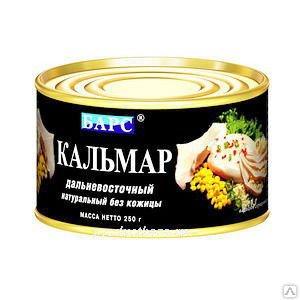 Кальмар натуральный Барс Экстра. 250 г