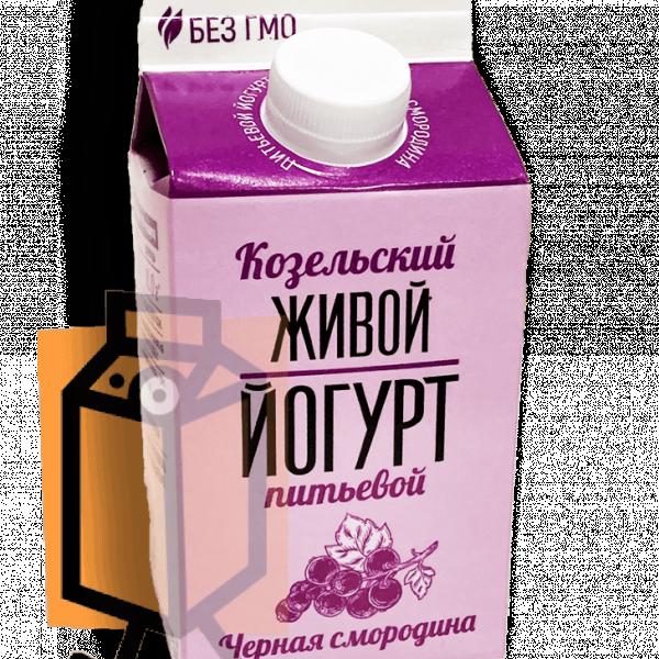 """Йогурт Козельский """"Живой"""" чёрная смородина 2,5% 450г пюр-пак"""