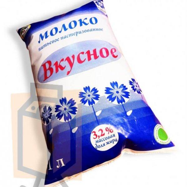 """Молоко пастеризованное """"Вкусное"""" 3,2% 1л пленка (г. Витебск, Беларусь)"""