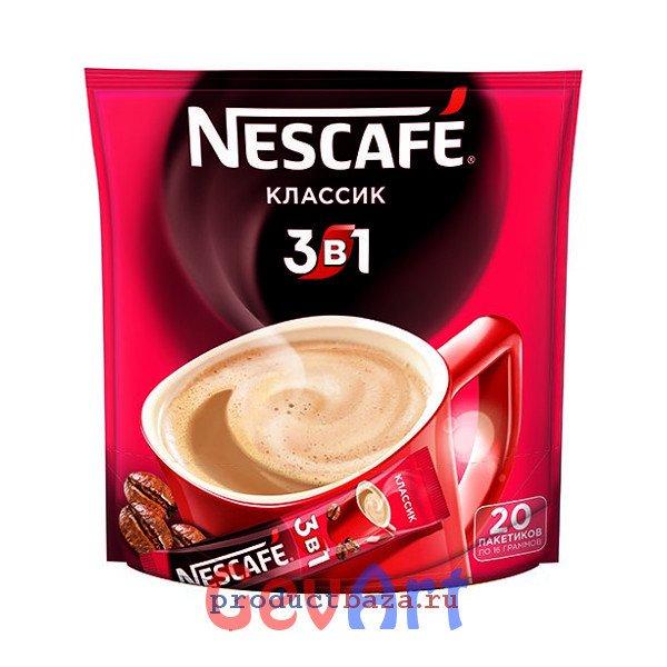 Кофе Nescafe 3в1 растворимый Классический, пакет 20 г
