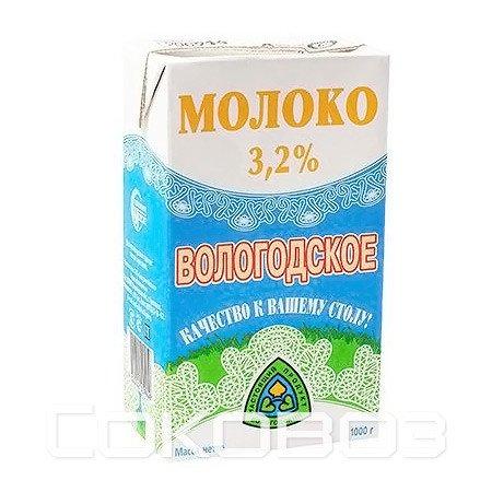 Молоко Вологодское 3,2% 1л (12шт)