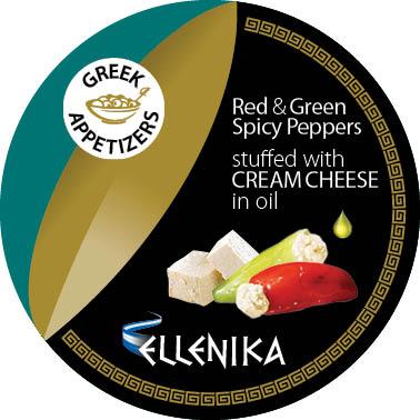 Зеленые и красные острые перчики фаршированные сливочным сыром, в масле